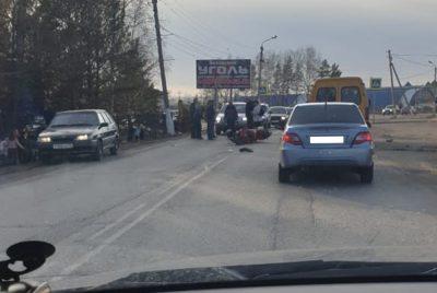 Видео тройного ДТП: в Кузбассе сбили байкера-подростка