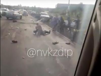 Страшное видео ДТП в кузбасском городе